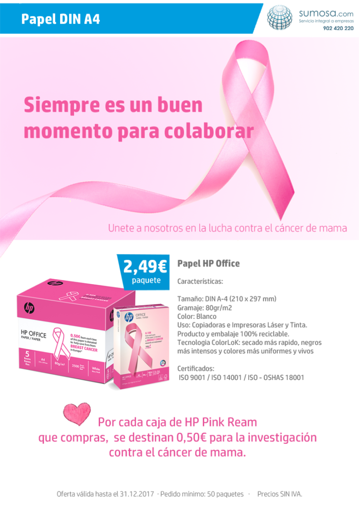 Oferta HP Office de 80 gr/m2 con fines solidarios